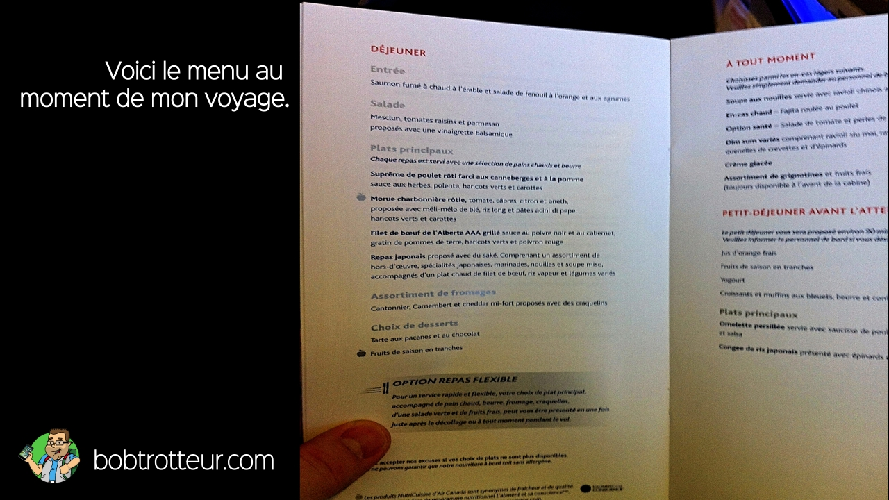 Menu classe affaires Air Canada